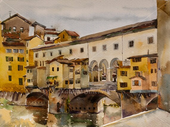 Rainy day near Ponte Vecchio, Florence, Italy digital download from original watercolor Tuscany landscape, italian famouse place