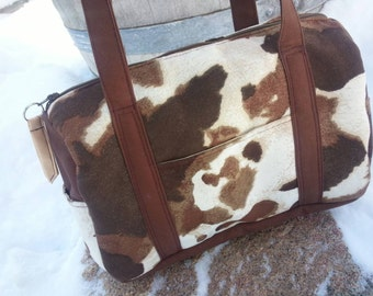 Faux Cowhide  Purse with Outside and Inside Pockets