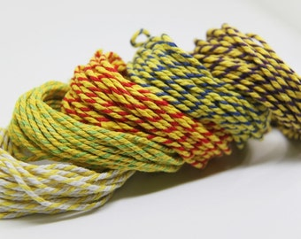 SET of 5 COLORS - Yellow Series. 5m per color. Baker's Twines. For Hang Tags. Srapbooking. Gift Wrapping. Parties. Autumn