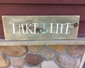 Lake life rustic sign