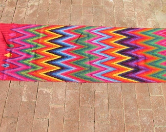 Vintage Guatemalan Sash Table Runner Chevron Pattern Heavy Cotton