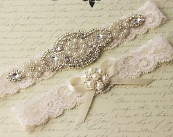 20% OFF BEST SELLER Wedding garter, Bridal Garter set, wedding garter set, crystal garter, stretch lace garter