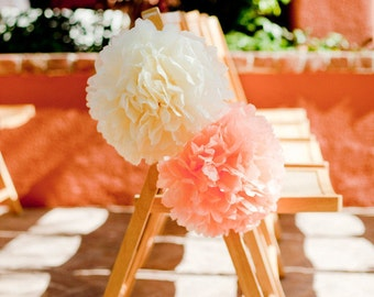 SALE - Decoration for Wedding Aisle Chairs - 50 Small Tissue Paper Pom Poms - Fast Shipping - Choose your colors - Bulk Sale