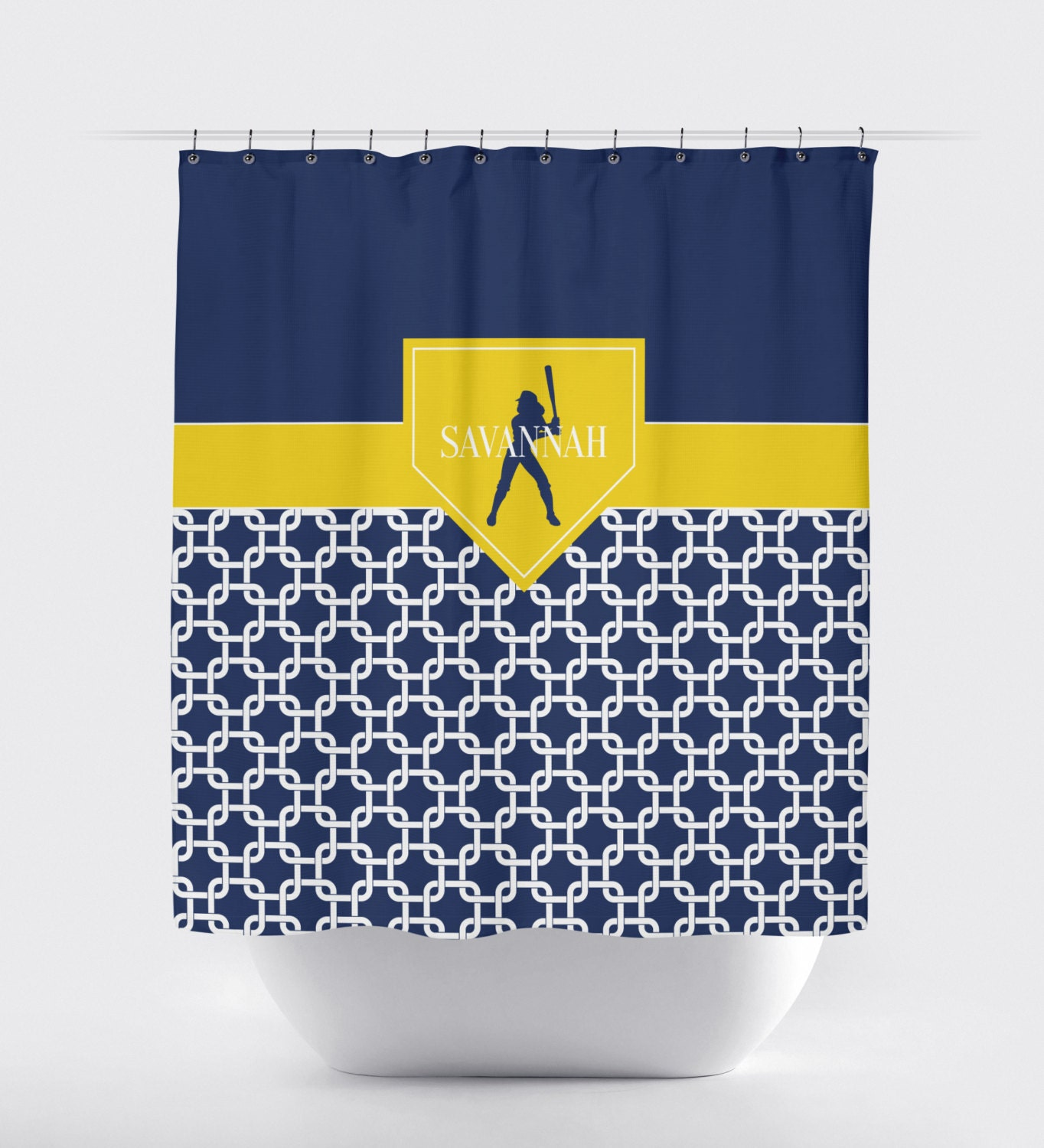 Softball Shower Curtain, Chain Link, Home Plate, Navy Blue, Yellow ...