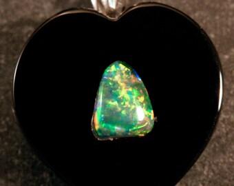 Sterling Silver Australian Opal Triangle & Onyx Heart Pendant, #101-00228