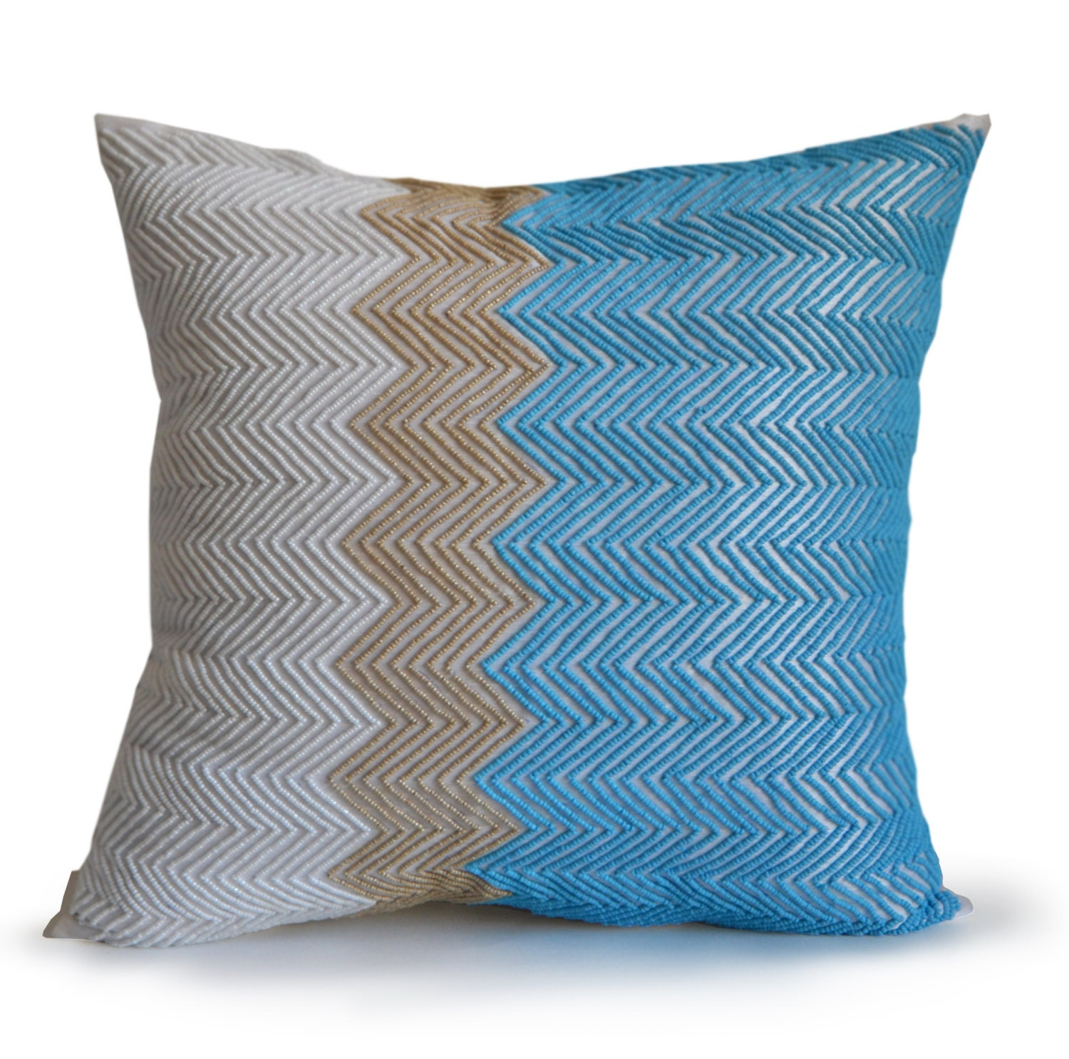 Decorative Pillows In Turquoise : Throw Pillow Cover Turquoise Beige White Decorative Pillow