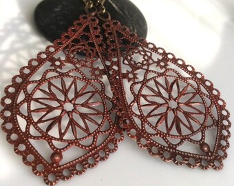Red Patina Earrings   Bohemian Earrings  Long Dangle Earrings  Filigree Earrings  Boho Earrings  Gypsy Dangles