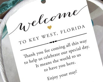 Set of 10 - Gift Tags for Wedding Hotel Welcome Bag - Destination Wedding Tags - Wedding Welcome Bag Tags - Thank You
