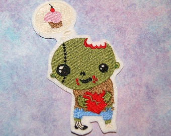 Sweet Little Zombie dreaming of Cupcakes Iron On Embroidery Patch MTCoffinz - Choose Size