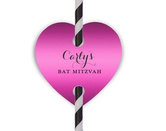 Bat Mitzvah Straws and Custom Heart Straw Tags | Bat Mitzvah Favors {lots of foil colors!}