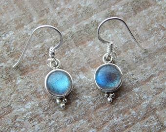Labradorite Earrings, Round Gem Stone Earrings, Drop Earrings, Labradorite  Dangle Earrings, Sterling Silver Earrings,