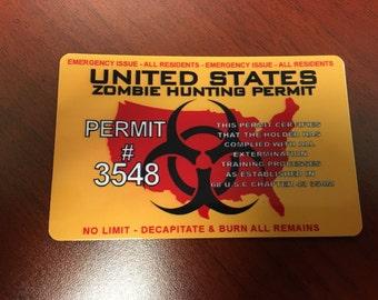 United States Zombie Hunting Permit PVC ID Card