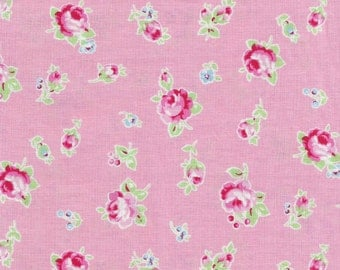 "Lecien's ""Flower Sugar""- Pink Roses on Pink, Japanese Fabric, Shabby Chic, Rose Fabric"