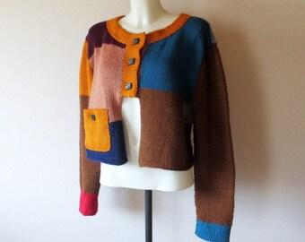 Hand Knit Cardigan, Designer Cardigan Multicolored
