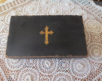 """ANTIQUE LAST RITES Religious Box 7 1/2"""" x 13"""" Textured Leather Covering Contains Two Communion Trays"""