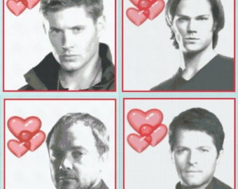 Love Supernatural - All Four Portrait Charts. Sam and Dean Winchester, Castiel and Crowley.