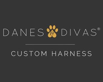 Custom Danes & Divas Dog Harness - Adjustable Front Clip Step In Harness