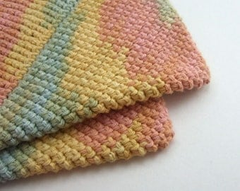 Striped Multicolor Double Thick Crochet Pot Holders-----set of 2