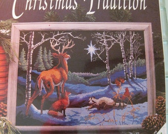 "Christmas Reindeer Fox Embroidery Kit ""Silent Night"" Christ Star Nature Scene 16"" x 12"""