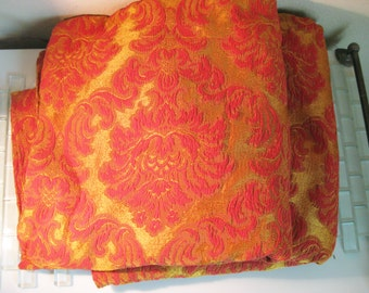 Gold Red Brocade Table Cover Tablecloth ITALY - 110 x 92