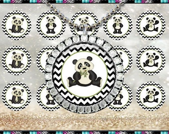 "Chevron Pandas 2185 - INSTANT DIGITAL DOWNLOAD - 1"" Bottlecap Craft Images (4x6) Digital Collage Sheet"