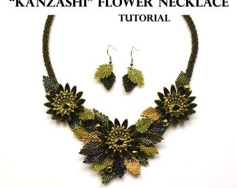 Kanzashi Flower Necklace - EXCLUSIVE PDF beading tutorial - Instant Download