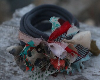 Upcycled Fabric Scrap T Shirt Bracelet-Boho-Shabby Chic-Eco Friendly