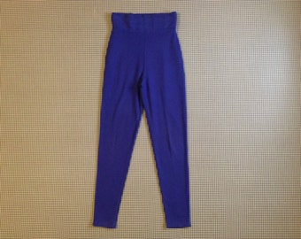 1990's, high waist, soft pants, in indigo, by Express Tricot, Women's size Small