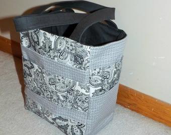 Black and grey floral  caddie bag, tote, diaper bag