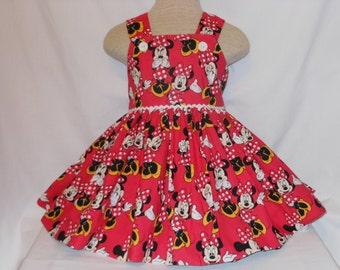 Exclusive Minnie Mouse Dress, Disney Minnie Mouse Dress, Custom Boutique,  Minnie  Birthday Dress, Unique Princess Minnie Handmade ,Vibrant