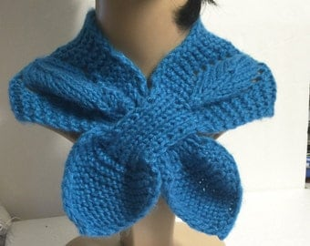 Hand knit  keyhole scarf -Turquoise color-Winter scarf -Winter Accessories- Womens Accessories-ready to ship