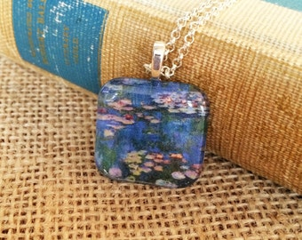 Monet Water Lilies Pendant Necklace (Lead and Nickel Free -- BLUE)