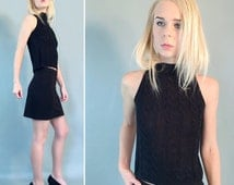 90s Sleeveless Cable Knit Crop Top, Mock Turtleneck Crop Top, Sleeveless Crop Top, VTG Cable Knit Crop, Black Crop Top, Black Cable Knit, XS