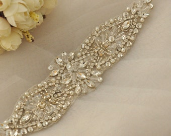 sale Crystal and Rhinestone Beaded Applique Bridal Belt Wedding Sash Applique Free Shipping to USA