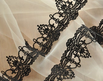 Black Venice Lace Trim, Crochet Jewelry Lace Trim
