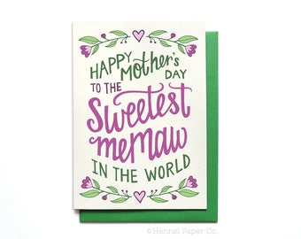 Memaw Mothers Day Card floral - Sweetest Memaw in the World - Happy Mothers Day Card unique- Grandma Card - Grandmother Card - MD26