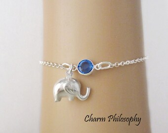 Elephant Bracelet or Anklet - Personalized Birthstone Bracelet - 925 Sterling Silver - Rolo Chain - Dainty Minimalist Bracelet