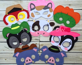 Sheriff Cat and friends dress up and birthday favor masks, sheriff callie birthday, sheriff callie gifts, sheriff callie birthday party