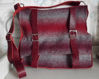Felted Wool and Leather Large Satchel/Messenger Bag