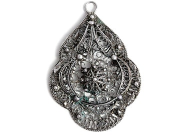Antique Jewelry Pendant Art Deco Filigree Silver