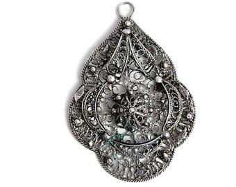 Antique Jewelry Pendant Art Deco Filigree Silver