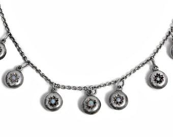 Antique Opal Stars Silver Necklace Art Nouveau Jewelry