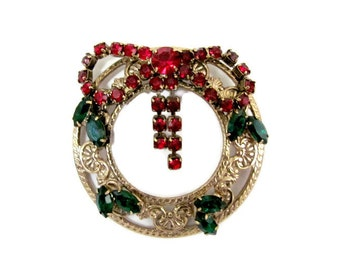 Vintage Christmas Wreath Brooch, 1960's Gold Rhinestone Wreath Brooch, Pin, Christmas Brooch, Pin, 1960's Holiday Brooch, Jewelry