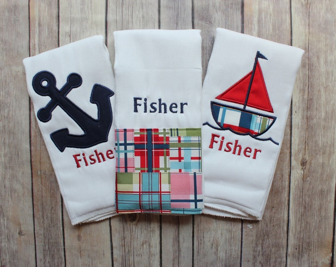 Custom Baby Boy Burp Cloth Set, Personalized Baby Boy Gift, Baby Shower Gift, Sailboat, Anchor, Nautical, Madras Burp Cloth, Monogrammed Boy