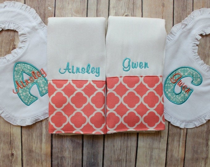 Twin Burp Cloth Bib Set, Coral Aqua Burp Cloth Bib Set for Twin Baby Girls, Monogrammed Personalized, Twin Burp Cloth Set, Custom Baby Gift