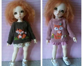 Fox Sweater for Littlefee, Slim Yo-Sd and other similar sized dolls. Bjd handmade jumper.