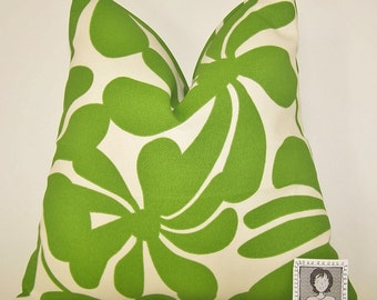 Green Outdoor Pillow Cover - Hunter Gree and offwhite - Various Sizes - Twirly - Beach - Nautical - 20x20,18x18,22x22