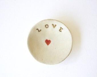Love ceramic handmade ring dish