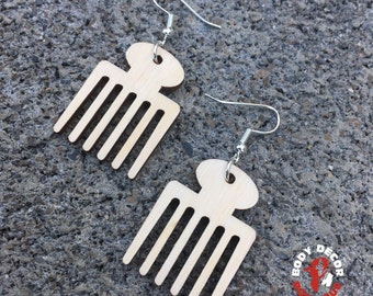 Natural Hair Earrings Custom - Wooden Earrings - Women Girls Pierced Unique Eclectic - Wooden Combs - Hair Life Wood Lyfe