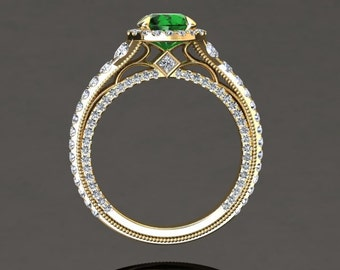 Emerald Engagement Ring Halo Emerald Ring 14k or 18k Yellow Gold VS2GY
